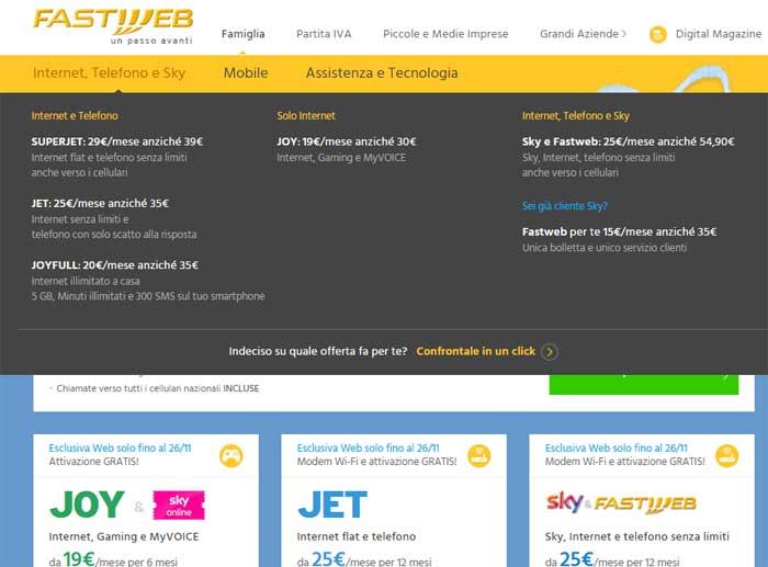 menu fastweb