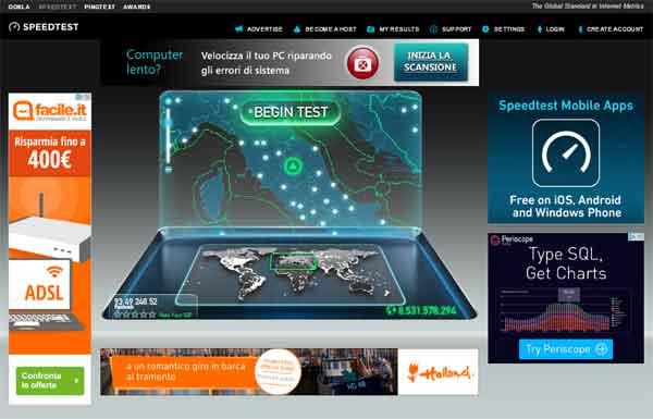 sito speedtest.net